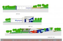 Idrettshall Slettebakken, Bergen : Fasader + Snitt